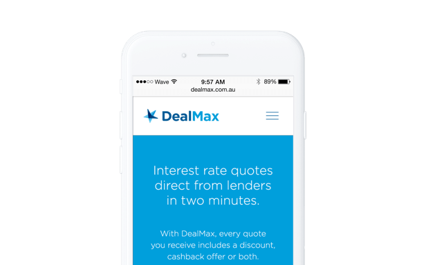 Mobile phone showing screenshot from DealMax responsive web app