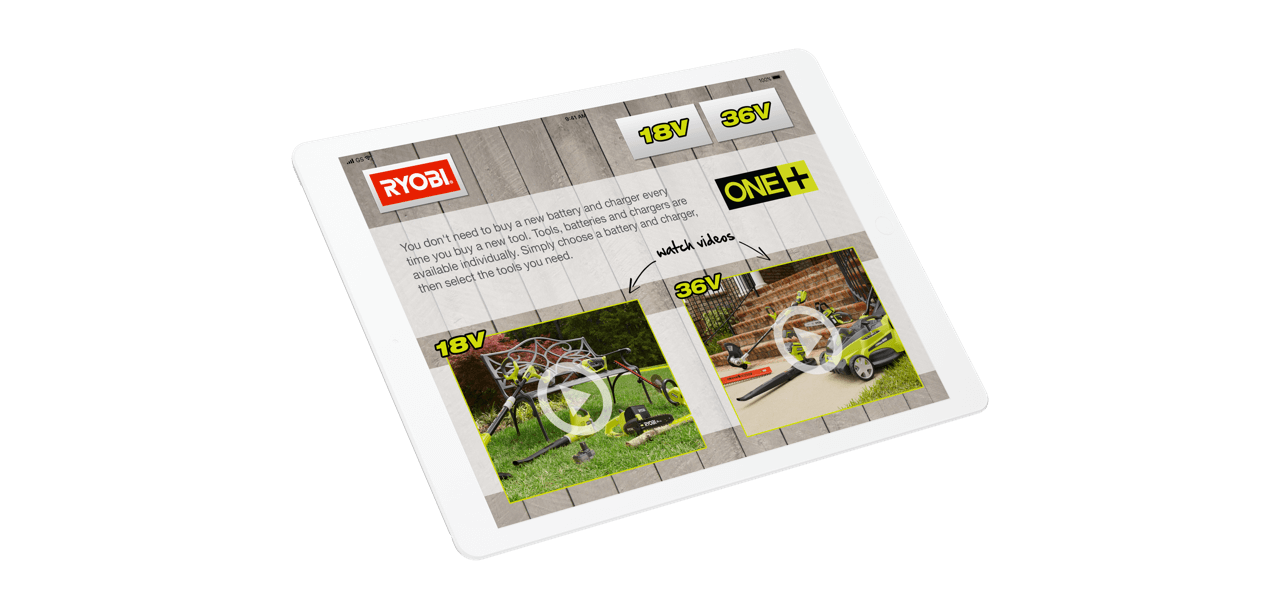 iPad showing screenshot from Ryobi app